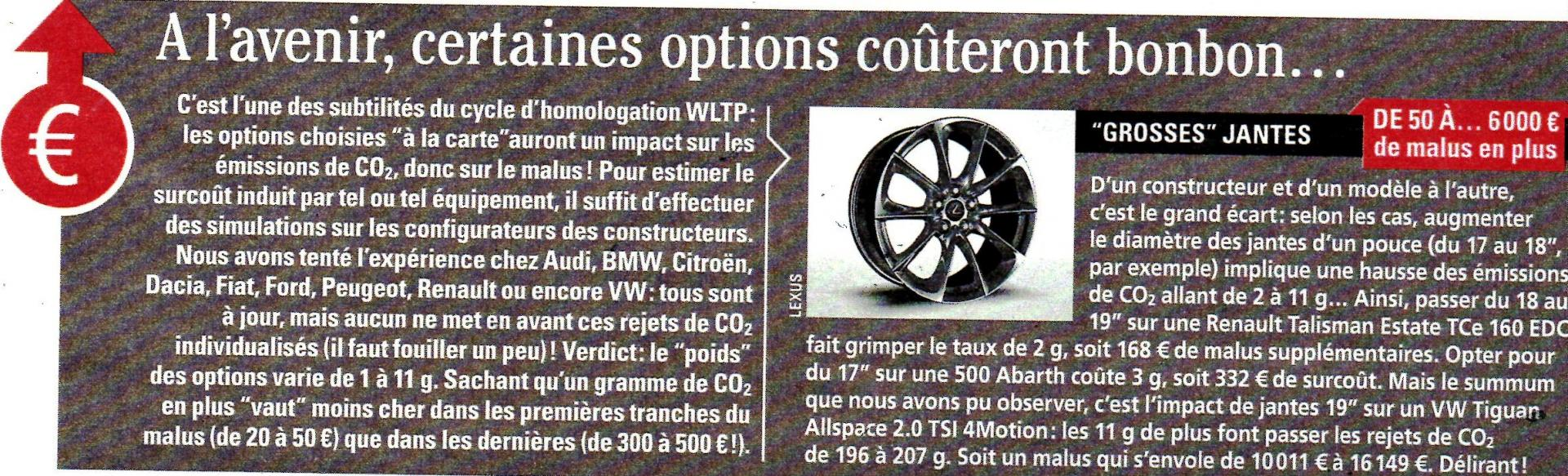 Options voitures taxees